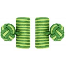 Grass Green and Pistachio Green Silk Barrel Knot Cufflinks