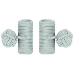 Light Grey Silk Barrel Knot Cufflinks