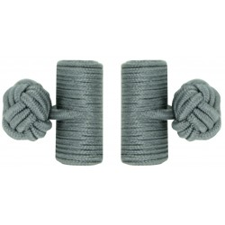 Grey Silk Barrel Knot Cufflinks
