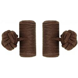 Dark Brown Silk Barrel Knot Cufflinks