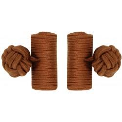 Brown Silk Barrel Knot Cufflinks