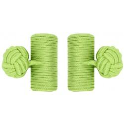 Pistachio Green Silk Barrel Knot Cufflinks