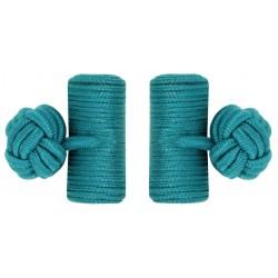 Bottle Green Silk Barrel Knot Cufflinks