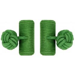 Grass Green Silk Barrel Knot Cufflinks