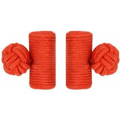 Red Silk Barrel Knot Cufflinks