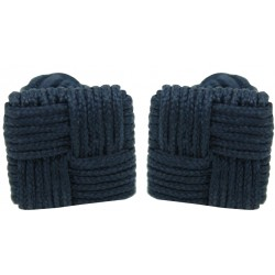 Navy Blue Silk Square Knot Cufflinks