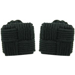 Black Silk Square Knot Cufflinks