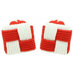Red and White Silk Square Knot Cufflinks