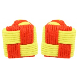 Red and Yellow Silk Square Knot Cufflinks