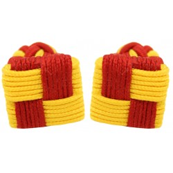 Red and Dark Yellow Silk Square Knot Cufflinks