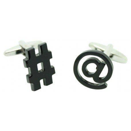 Black At and Octothorp Cufflinks