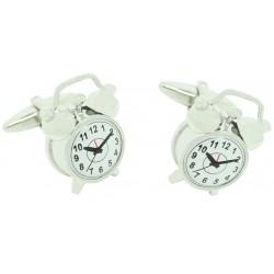 3D Silver Alarm Clock Cufflinks