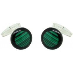 Sterling Silver Green and Black Cufflinks