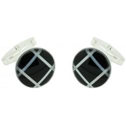 Sterling Silver Round Onyx Cufflinks
