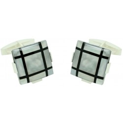 Sterling Silver and Onyx Square Cufflinks