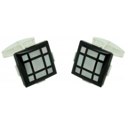 Sterling Silver and Onyx Frame Cufflinks