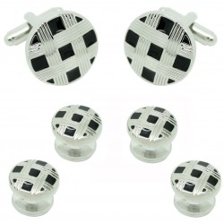 Checkered Tuxedo Buttons and matching cufflinks