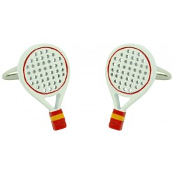 White Spain Padel Racket Cufflinks