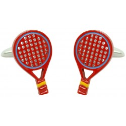 Red Spanish Padel Racket Cufflinks
