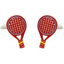 Red Spanish Padel Racket Cufflinks