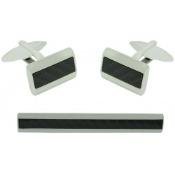 Stainless Steel Carbon Fiber Cufflinks and Tie Clip