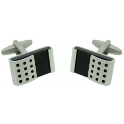 Stainless Steel and Black Stone Cufflinks