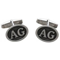Sterling Silver Embossed Initiales Cufflinks