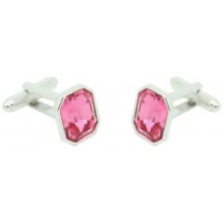 Pink Swarovski Square Cufflinks