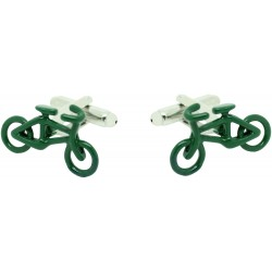 Green Racing Bicycle Cufflinks