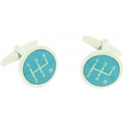 Blue Gear Lever Symbol Cufflinks