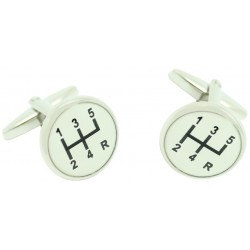 White Gear Lever Symbol Cufflinks