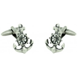Boat Anchor with Boat Wheel Cufflinks