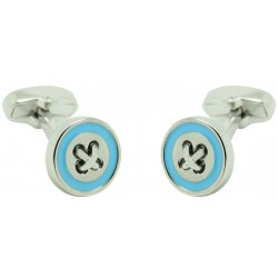 Blue Line Button Cufflinks