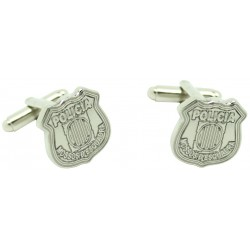 Silver Mossos d'Esquadra Shield Cufflinks