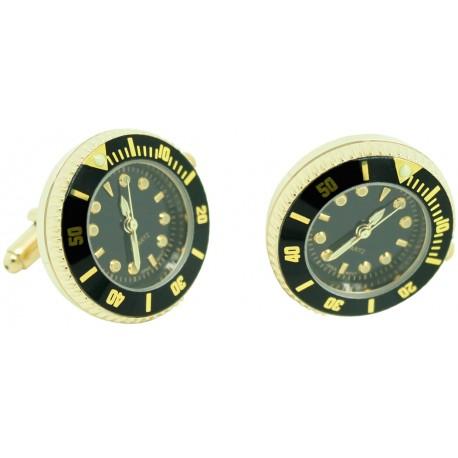 Gemelos Reloj Esfera black Golden