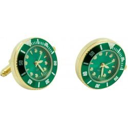 Gemelos Reloj Esfera Verde Golden