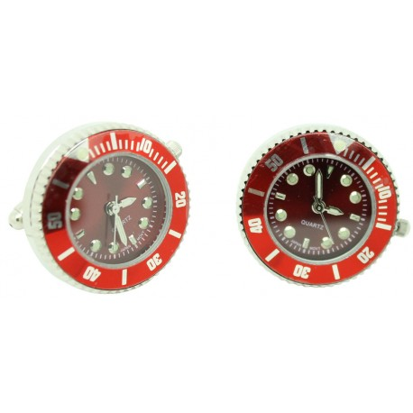 Red Sports Watch Plated-tone Cufflinks