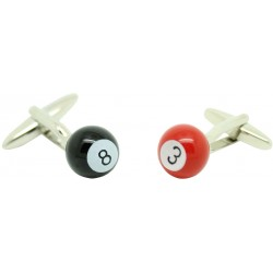 Billiard Balls 3 and 8 Cufflinks