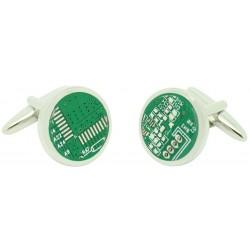 Circular Microchip Cufflinks
