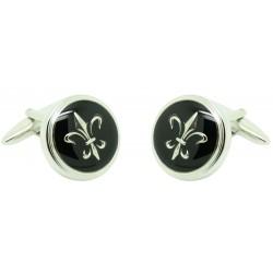black lys flower cufflinks