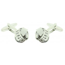 Plated Ribbed Rail Knot Cufflinks