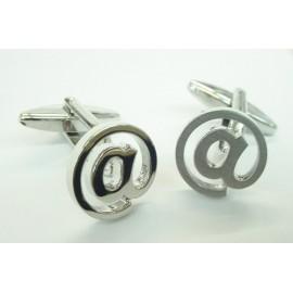 Silver Arroba Symbol Cufflinks
